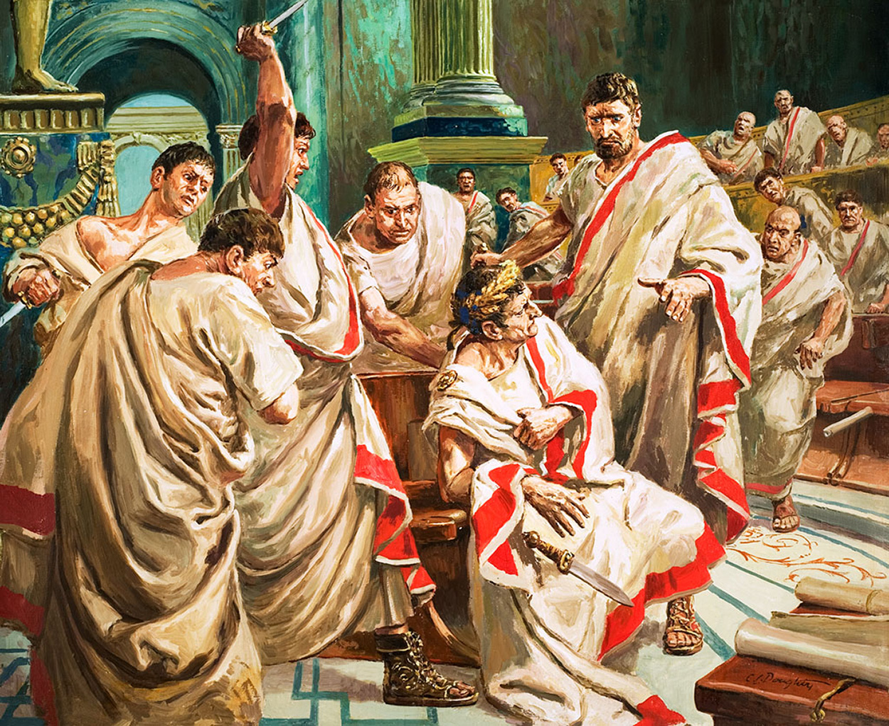 The death of Julius Caesar. Original artwork. Cecil Doughty